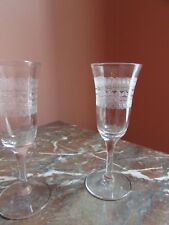 Pair of  Needle Etched Optic  Bowl Crystal Cordial Glasses