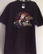 Harley Davidson  Shirt Mens LARGE Ride A Legend Pin Up Girl Rare EUC BLACK