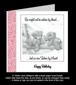 'Not Sisters by Blood, Sisters by Heart' Best Friend Birthday Card, Tatty Teddy