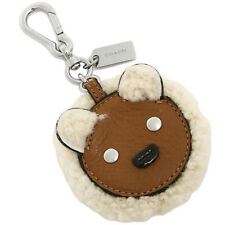 Coach Bear Face Motif Shearling Key Fob Chain Zipper Pull 64749 Bag Charm