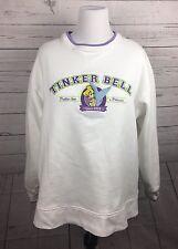 Disneyland Resort TINKERBELL White Purple Pullover Long Sleeve Sz L Sweatshirt