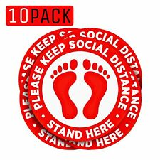 10Pcs Social Distancing Signs Self Adhesive Floor Stickers Keep Distance 6 Feets