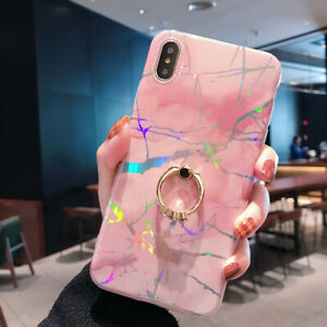 Marble Iridescent Ring Stand Holder Soft Silicone Case Cover For Smart Cellphone
