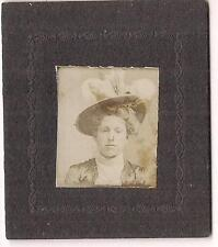 Lovely Young Fashion Hat w/Feathers Victorian Girl Vintage 1900s Matted Photo