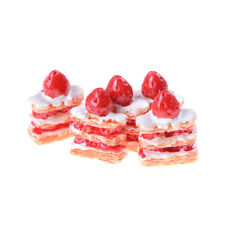 5pcs Mini Strawberry Cream Napoleon Cake Dollhouse Decor N6
