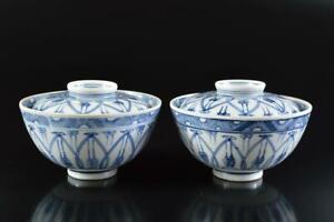 L3982: Japanese Old Kiyomizu-ware Blue&White LIDDED TEA BOWL Chawan 2pcs,