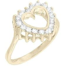 18K GOLD EP 1.0CT SIMULATED DIAMOND HEART RING size 10 or T 1/2