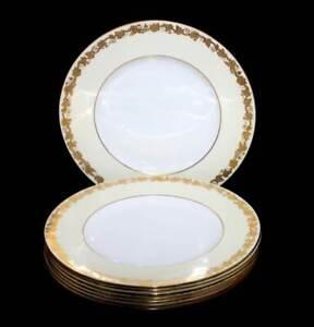 Vintage Wedgwood Whitehall cream & gold vine leaves set of 8 large dinner plates