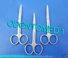 "6 Operating Dissecting Surgical Scissors 4.5"" Straight Sharp Blunt Blades"