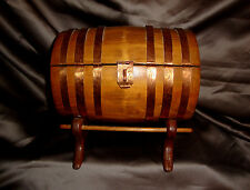 Charming Copper Trimmed Hinged Wood Cask Tun Barrel Trinket Jewelry Box on Stand