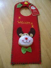 RUDOLPH REINDEER XMAS WELCOME Door Handle Sign/Door Hanger, Decoration, NEW