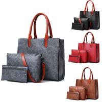 3Pcs Women Leather Handbag Lady Shoulder Bag Satchel Messenger Purse Tote Set