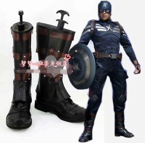 The Avengers Captain America Cosplay Shoes Boots Halloween Cos Shoes Custom Made
