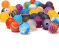 45 Edelsteine Achat Perlen Matt 8mm Natürliche Streifen Kugel Bunt Mix G72#3