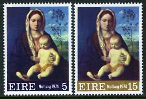 Ireland 365-366, MNH. Christmas. Virgin and Child, by Bellini, 1974