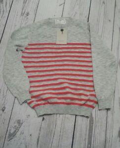 Zara Knitwear boys Cardigan Crew Neck Gray and Orange striped size : 7 -8  /~#R6