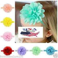 Lot of 12 Newborn Baby Infant Toddler Girl Big Chiffon Flower Elastic Headbands