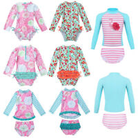 Kid Baby Girl Long Sleeve Bikini Swimwear Swimsuit Beachwear Rash Guard Costume