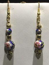 New Item*On Sale* Handcrafted Vtg. Cobalt Blue Cloisonne' Bead Drop Earrings*New