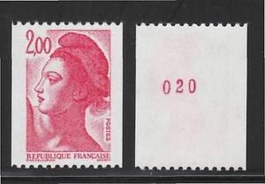 1983 France Liberté variété roulette  NUMERO ROUGE 2277a ★★ neuf sans charnière