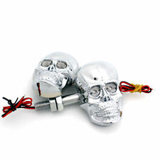 2pcs Motorcycle Silver LED Skull Turn Signal Light for Harley Crusier Custom