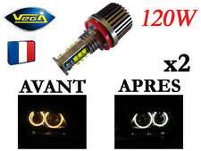 ► 2 Angel Eyes Vega® H8 LED 2*120W CREE Blanc Xénon BMW après 2008 ◄