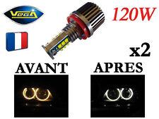 ► 2 Angel Eyes Vega® H8 LED 2*120W CREE Blanc Xénon BMW après 2008 ◄