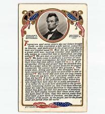 Antique 1908 Abraham Lincoln Memorial Postcard Gettysburg Address by M T Sheahan