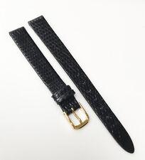 Seiko Genuine Lizard Black Tone Usa 11mm Leather Gold Buckle Watch Band