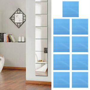 9pcs Mirror Glass Tiles Wall Sticker Decal Mosaic Home Decor Self-Adhesive DIY
