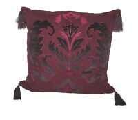 "Hallmart Collectibles Jewel Tone Red Embroidered Applique 20"" Square Decorative"