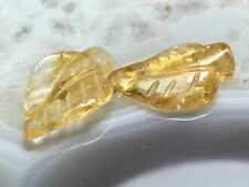 GOLDEN LEAF YELLOW CITRINE CARVED GEMSTONE LEAVES 19.5-20mm Bead PAIR