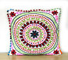 "White 16"" Suzani Handmade Cotton Embroidered Sofa Pillows Cushion Cover Indian"