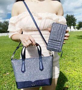 Kate Spade Lola Glitter Small Top Zip Satchel Dusknavy + Large Card Holder