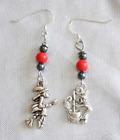 """Judy Strobel Magical Silvery Halloween Witch Pierced Earrings 1 3/4"""""""