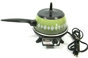 Vintage Oster Avocado Green Electric Fondue Pot Tested Made in the USA Holm