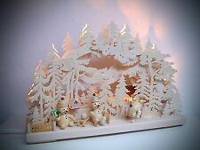 LED Arches 3D bonhomme de neige - Paradies 43 x 30 cm Erzgebirge 3 figuren 10615