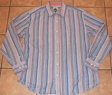 Big Mens Robert Graham R&G~BLUE Striped DRESS SHIRT~sz XXL 2XL~NEW~Button Down