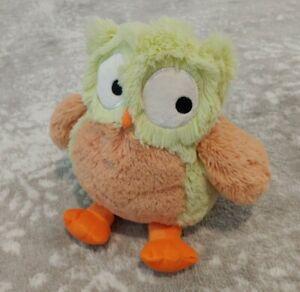 "Lambs & Ivy RARE Yellow & Orange Owl 2014 Stuffed Animal Plush 11"" SANITIZED"