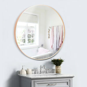 32 inch Wall Mount Round Bathroom/Livingroom Make-up Mirror Brushed Gold Frame