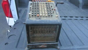 vintage Antique Burroughs Adding Machine with Beveled Glass front & sides