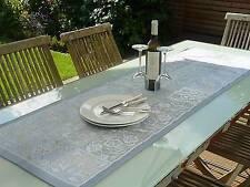 Tischläufer Jacquard 50x160 cm blau grau Ornamente aus Frankreich, Teflonschutz