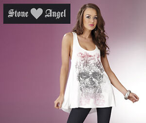 Stone Angel Size 10 Women's White Skull Head/Spiders Top T-Shirt Blouse