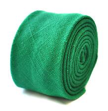 Frederick Thomas skinny plain apple green linen tie FT1908