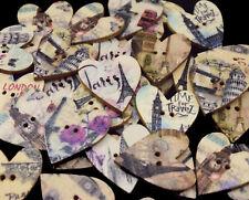 25/50 Vintage Style London, Paris Heart Craft Buttons, Wooden, 28mm - BU1005