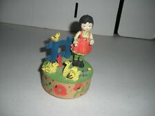 Unique Anri Wood Music Box Girl & Birds Hand Painted Plays Fiddler On The Roof
