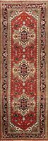 Geometric Traditional Oriental Runner Rug RED Wool Hand-knotted 3x10 ft Carpet