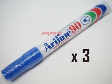 3 x Artline 90 EK-90 Quick Drying Permanent Marker Chisel Tip 2.0-5.0mm, Blue