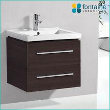 Riva 600 Bathroom Vanity Unit Timber Melamine NEW Recessed Ceramic Basin