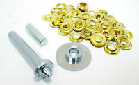 Tarpaulin & Tent Repair Kit 30 Brass Coated Grommets / Eyelets Punch Tool Awning